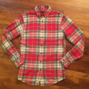 Lands End Tailored Fit Flannel Shirt Small 14-14.5
